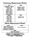 Customary & Metric Measurement Notes