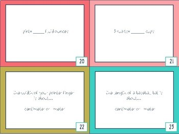 Customary & Metric Units of Measurement Task Cards
