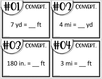 Customary Unit Conversions (Task Cards OR MATHO)