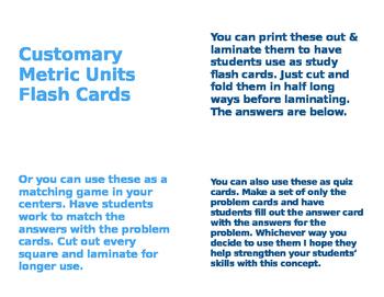 Customary Units Flashcards