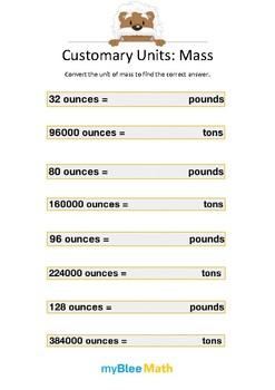 Measuring Volume & Mass: Customary Units – Mass 3