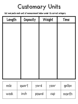 Customary Units Sort