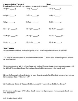 Customary Units of Capacity Worksheets for Practice