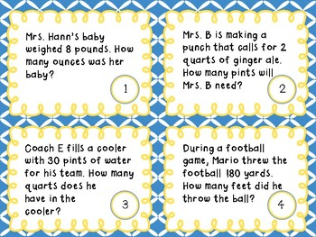 Customary Units of Conversion- Word Problem Task Cards
