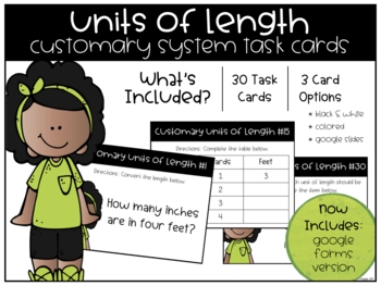 Units of Length: Customary System Task Cards