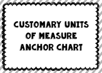 Customary Units of Measure Anchor Chart