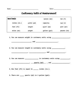 Customary Units of Measure Quiz