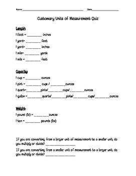 Customary Units of Measurement Quiz