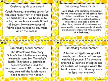 Customary Units of Measurement Real World Word Problems