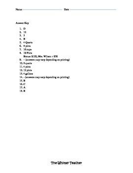 Customary Units of Measurements Assessment