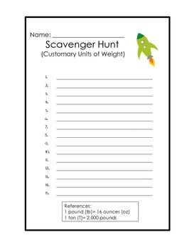 Customary Units of Weight Scavenger Hunt