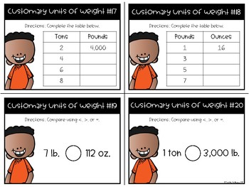 Customary System Units of Weight Task Cards