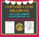 Customary Weight Conversions Color By Answer- Self-Checking Measurement Activity