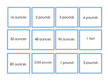 Customary Weight Matching Game