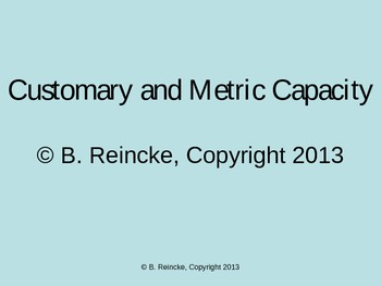 Customary and Metric Capacity TurningPoint Clicker Presentation