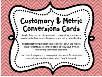Customary and Metric Conversion Cards and Cheat Sheet