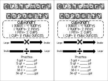 Customary and Metric Conversion Handouts