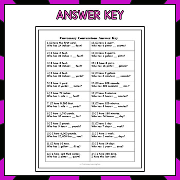 Customary and Metric Conversions Game