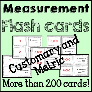 Customary and Metric Measurement Flash Cards Common Core B