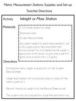 Customary and Metric Measurement Learning Stations