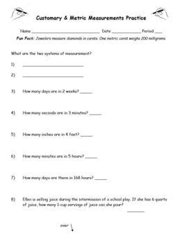 Customary and Metric Measurement Converting Measurements Practice Worksheet