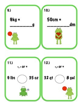 Customary and Metric Measurement Task Cards 4.MD.1 and 4.MD.2