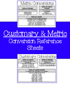 Customary and Metric Conversion Reference Sheets