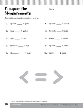 Customary and Metric Units of Capacity