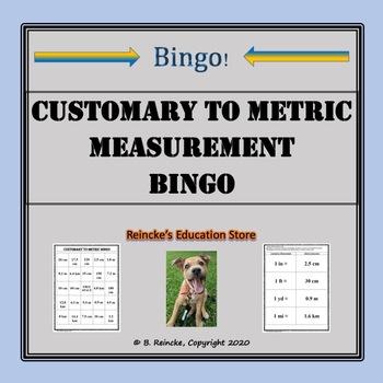 Customary to Metric Measurement Bingo (30 pre-made cards!)