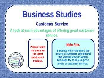 Customer Service - Operations - PPT & Worksheet - Business Studies