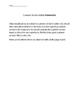 Customer Service Worksheet