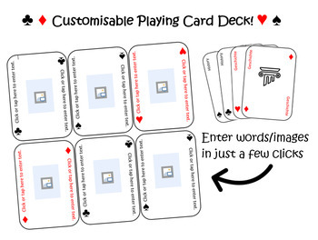Customisable playing card deck template - Languages, ESL, Maths and so much more