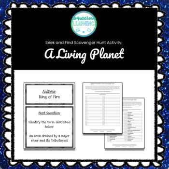 Customizable A Living Planet (Geography) Scavenger Hunt Style Review Game