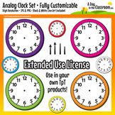 Customizable Analog Clock Clip Art Graphics for Commercial Use