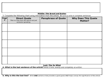 Customizable Article Analysis Worksheet/Graphic Organizer