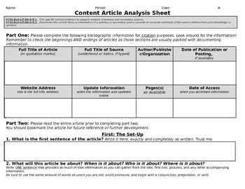 Customizable Article Analysis Worksheet/Graphic Organizer