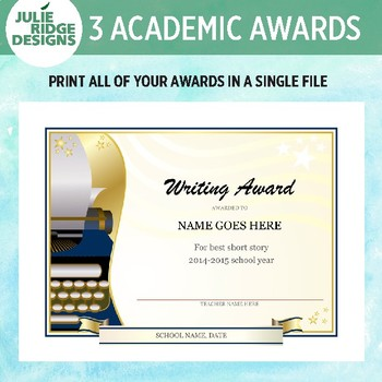Customizable Awards for Spelling, Writing and Science