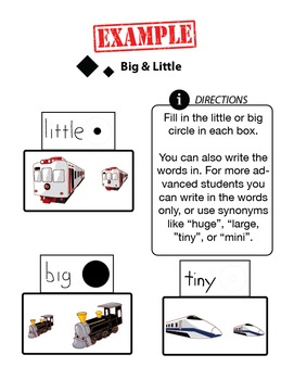 Customizable BIG & LITTLE Worksheets & Data For Students With Autism