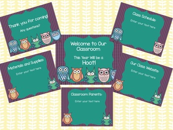 Customizable Back to School Night/Open House Power Point P