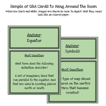 Customizable Basics of Geography Scavenger Hunt Style Review Game