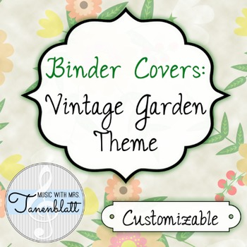 customizable binder covers vintage garden theme by music with mrs