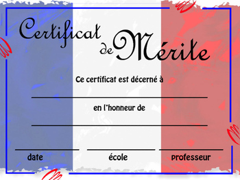 Customizable Certificate of Achievement - French Students All Levels