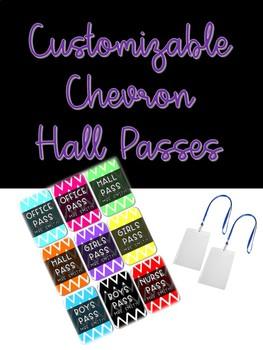 Customizable Chevron Hall Passes for Lanyards
