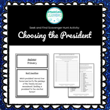 Customizable Choosing the President Scavenger Hunt Style Review Game