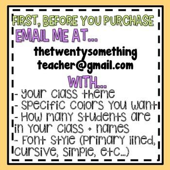 Customizable Classroom Name Tags!