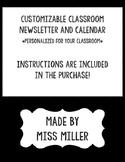 Customizable Classroom Newsletter and Calendar