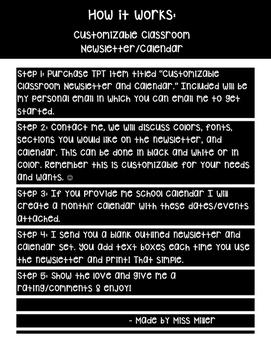 Customizable Classroom Newsletter and Calendar PREVIEW