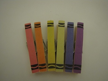 Customizable Crayon Clothespins Set of 6