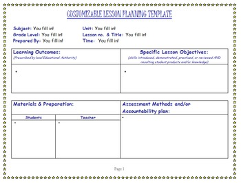 Customizable Detailed Lesson Plan Outline or Template