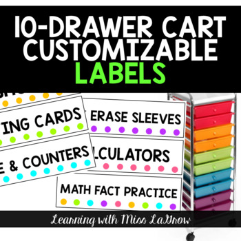 Customizable Drawer Labels for 10 Drawer Cart